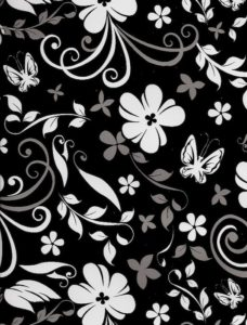 Black & White Floral Giftwrap
