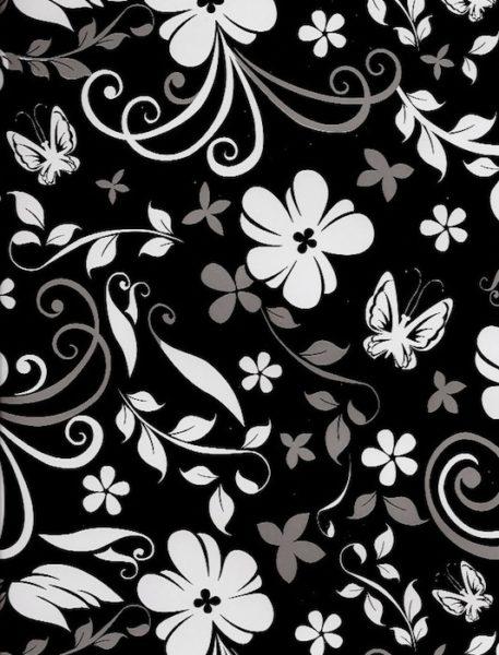 Black & White Floral Giftwrap