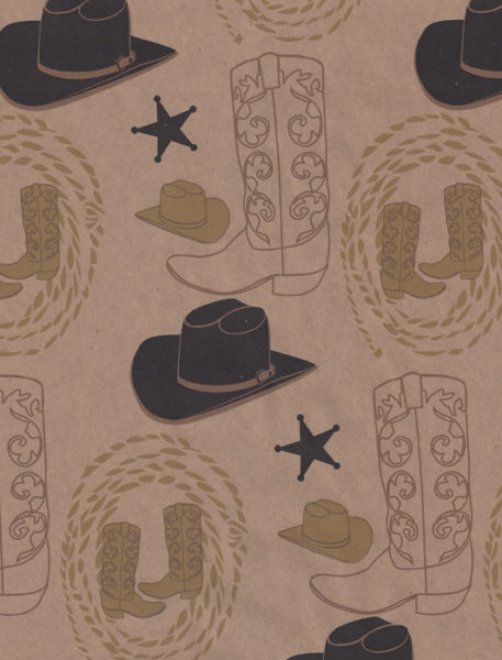 Black Hat Western Kraft Gift Wrap