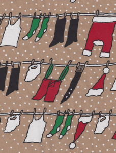 Clothesline Santa Kraft Gift Wrap