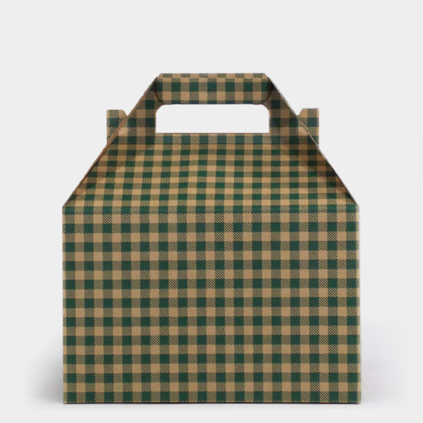 Green Gingham Kraft Gable Box