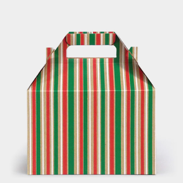 Kelly Cheer Stripe Kraft Gable Box
