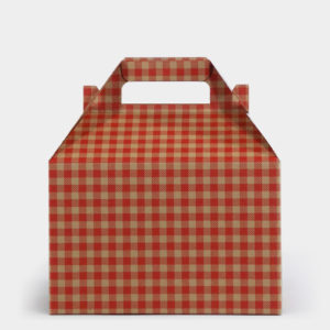 Red Gingham Kraft Gable Box