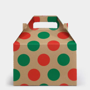 Red & Green Dot Kraft Gable Box