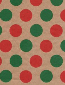 Red & Green Dots Kraft Gift Wrap