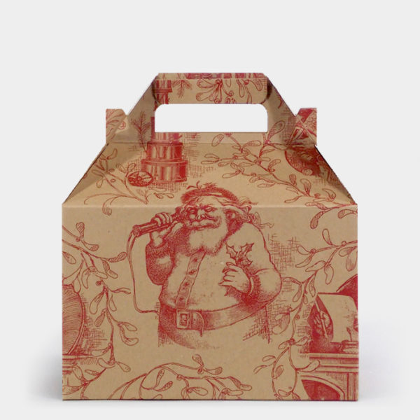 Burgundy Santa Toile Kraft Gable Box