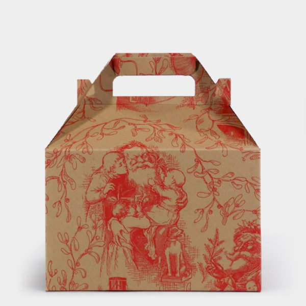 Red Santa Toile Kraft Gable Box