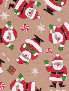 Smiling Santa Kraft Gift Wrap