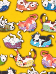 Cats and Dogs on Yellow Giftwrap